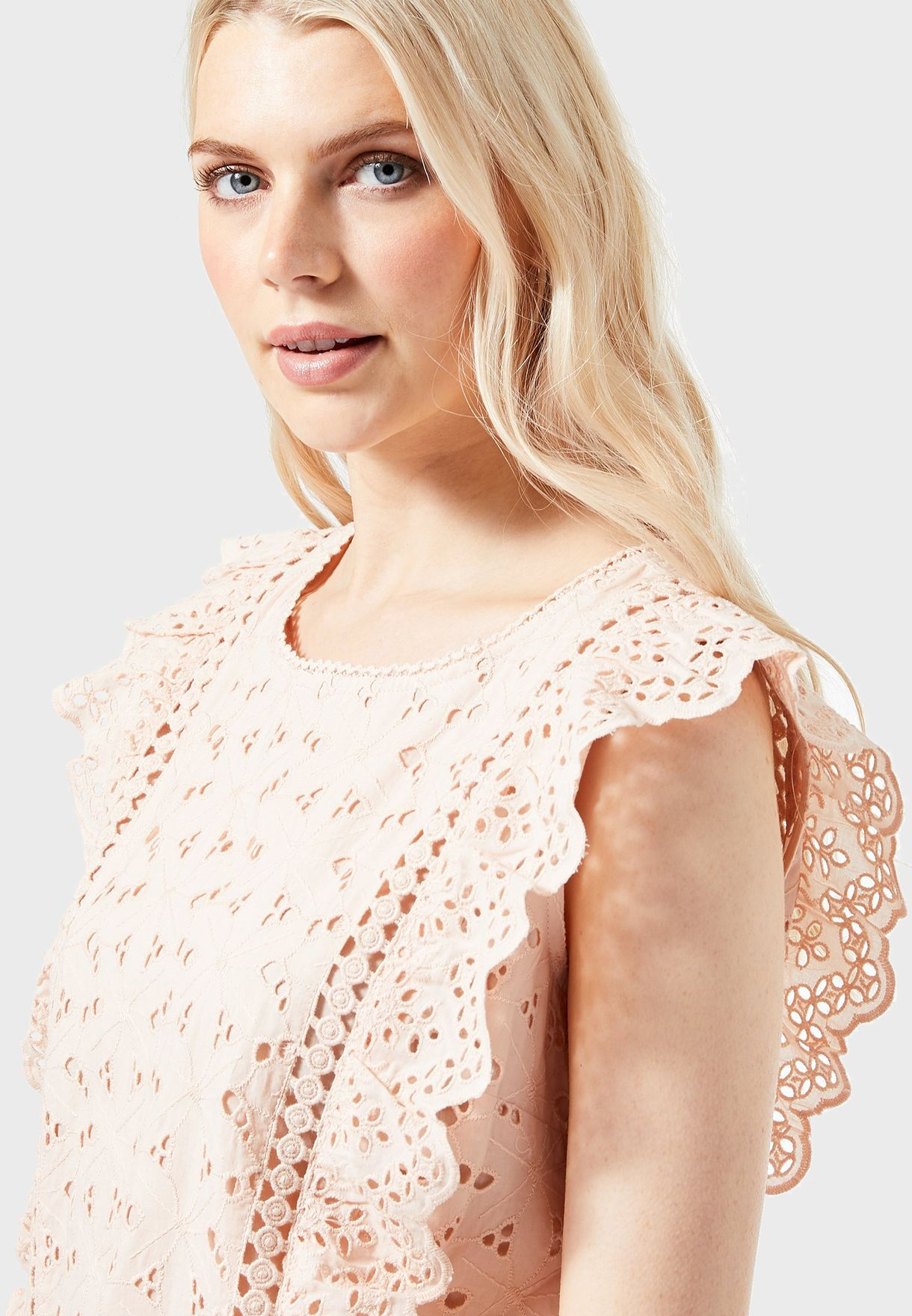 Ruffle Trim Broderie Top