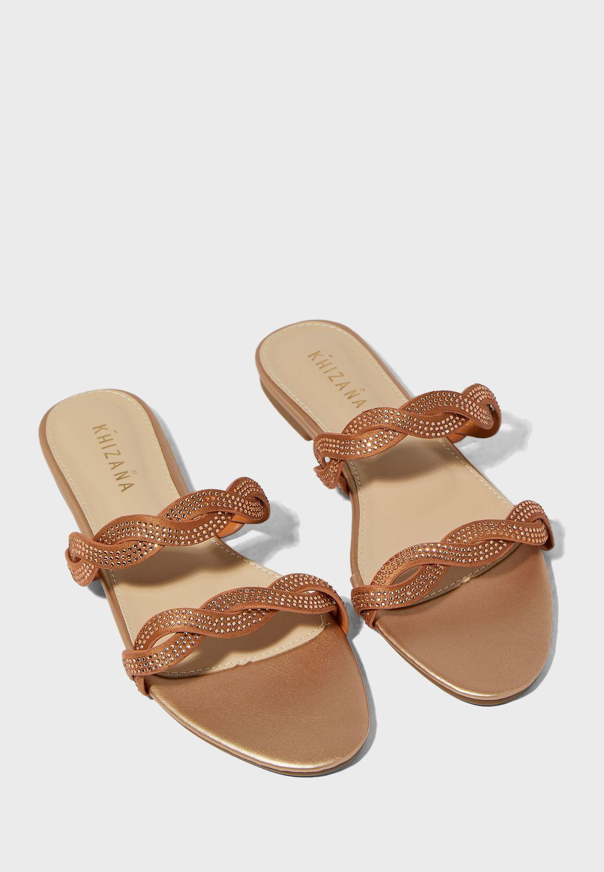 Twist Strap Diamante Flat Sandals