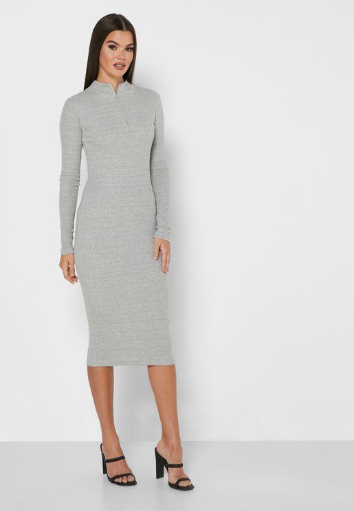 Zip Detail Bodycon Dress
