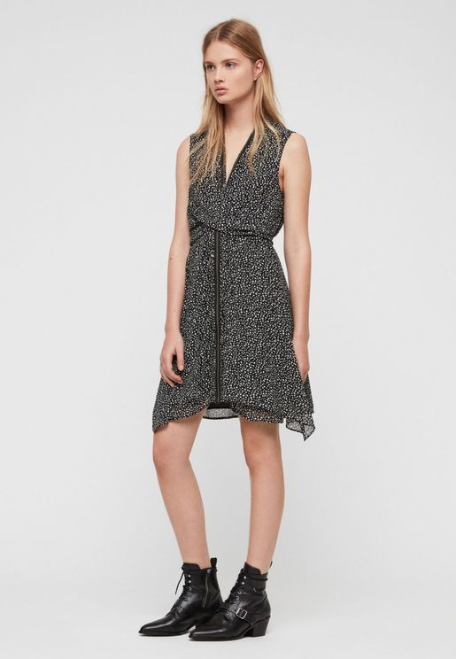 Jayda Printed Zip Detail Waterfall Dress