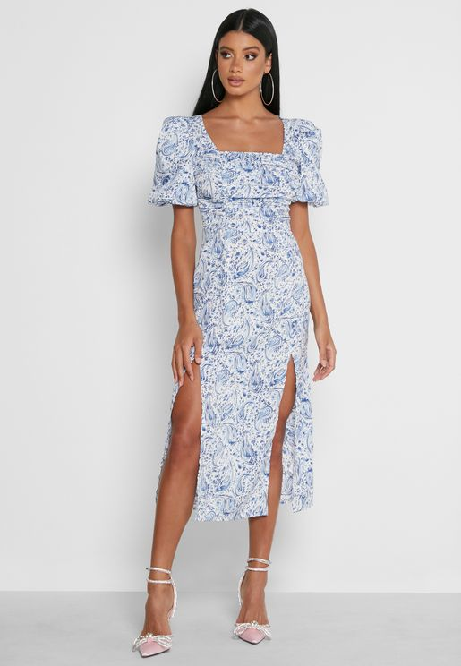 Puff Sleeve Printed Medaxi Dress
