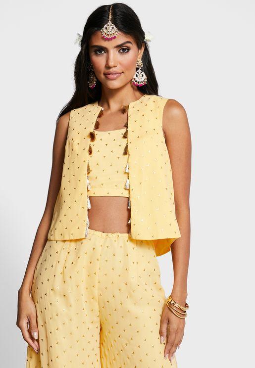 Indya X Payal Singhal Yellow Foil Sleeveless Short Jacket