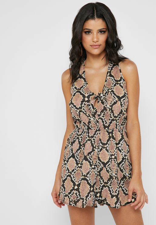 Front Tie Snake Print Playsuit