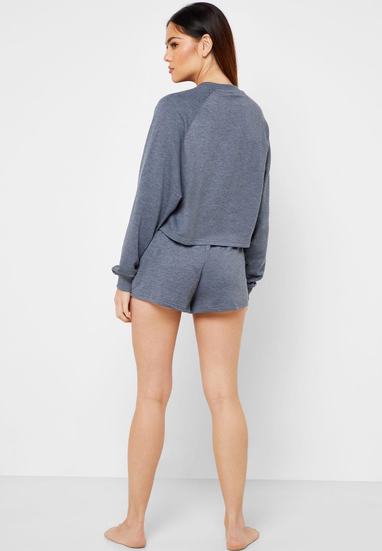 Slogan Sweatshirt & Shorts Set