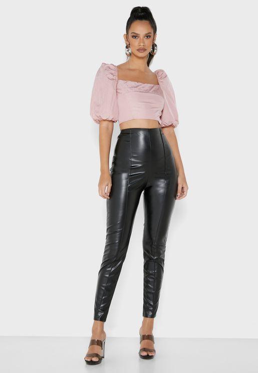 Faux Leather Coated Leggings