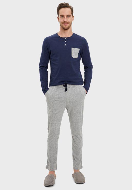 Contrast Pocket Pyjama Set