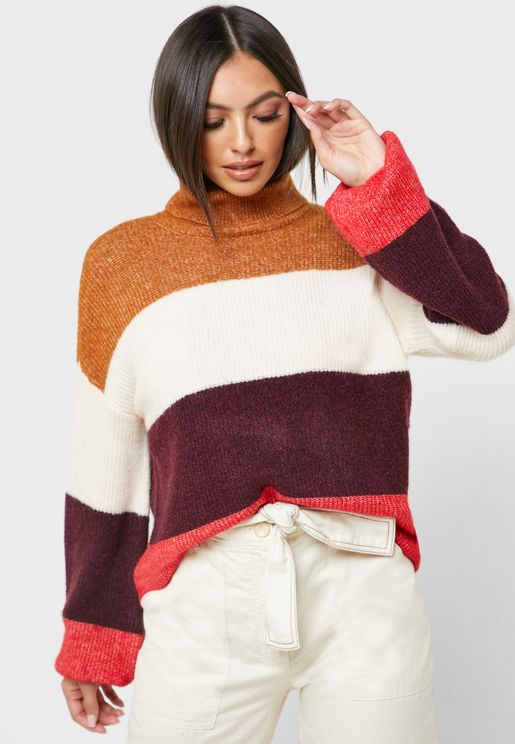 Roll Neck Ribbed Sweater