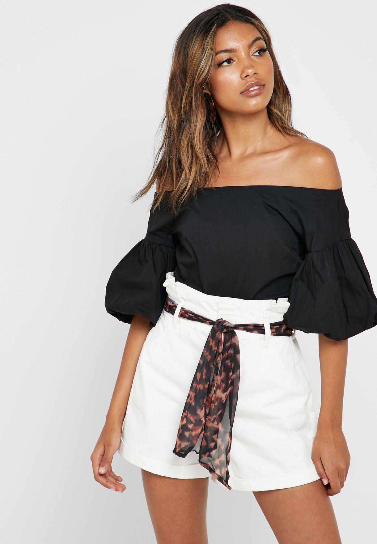 286a6eab227 Shop Topshop black Puff Sleeve Bardot Top 13O12QBLK for Women in ...