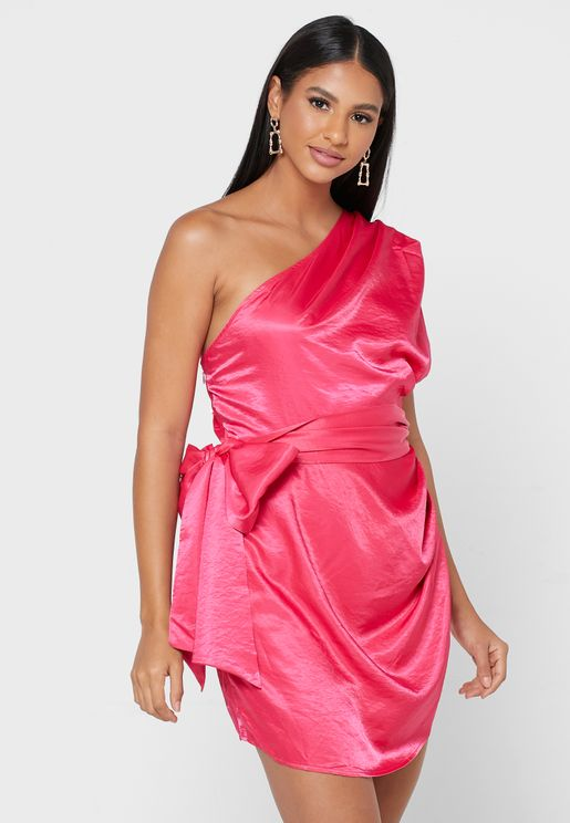 Hot Pink Satin One Shoulder Side Drape Mini Dress