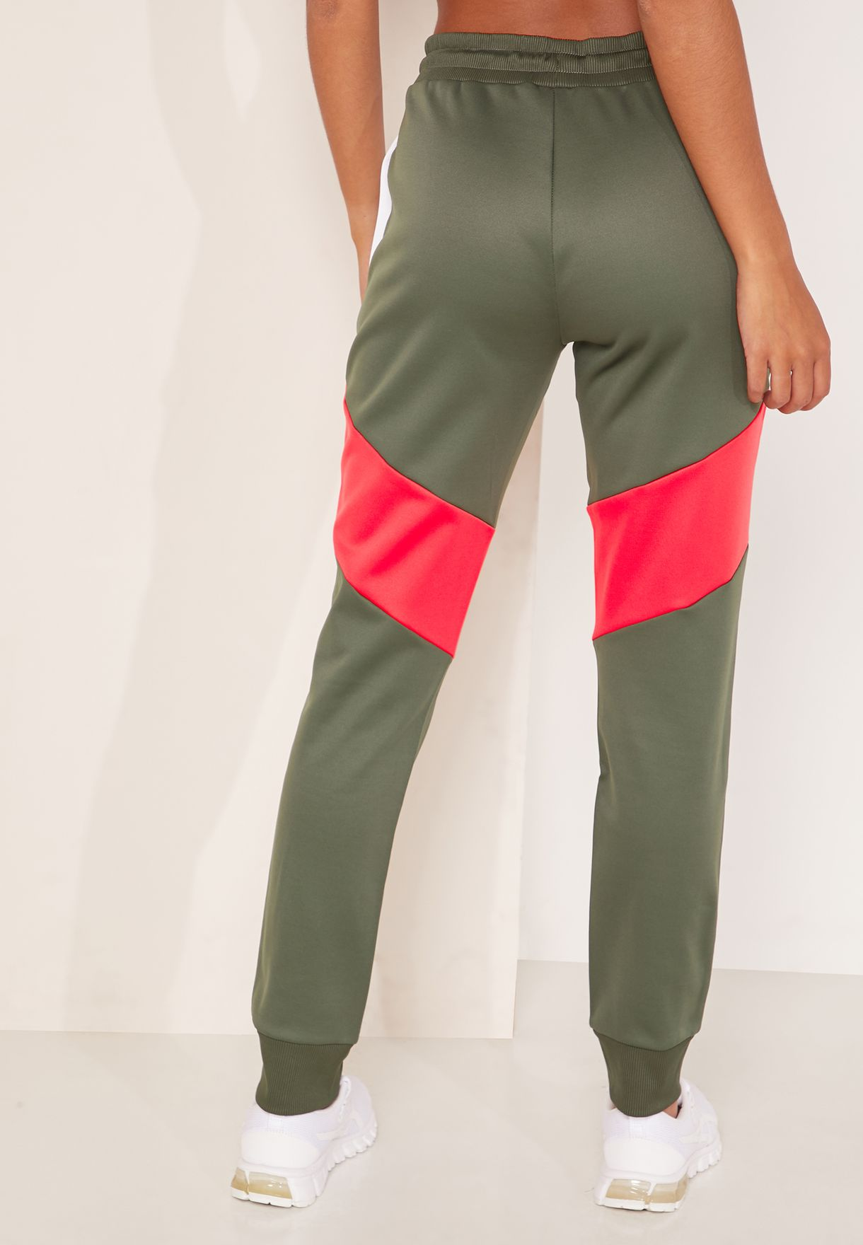 Colour Block Fleece Cuffed Sweatpants