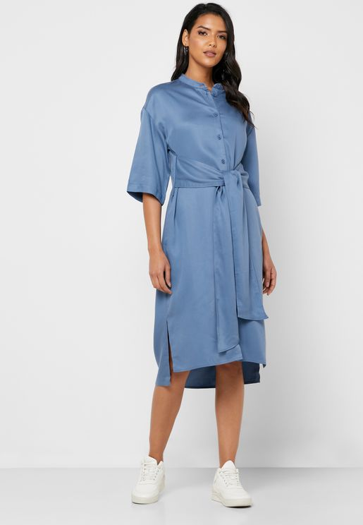 Tencel Tie Front Oversized Shirt Dress