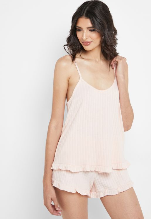 Ribbed Ruffle Trim Vest