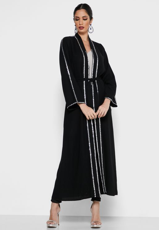 Metallic Trim Self Tie Abaya