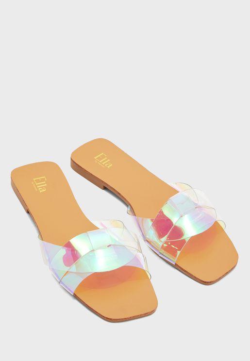 Woven Blue Iridescent Strap Flat Sandal