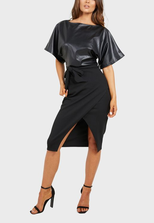Pu Batwing Tie Belt Wrap Midi Dress