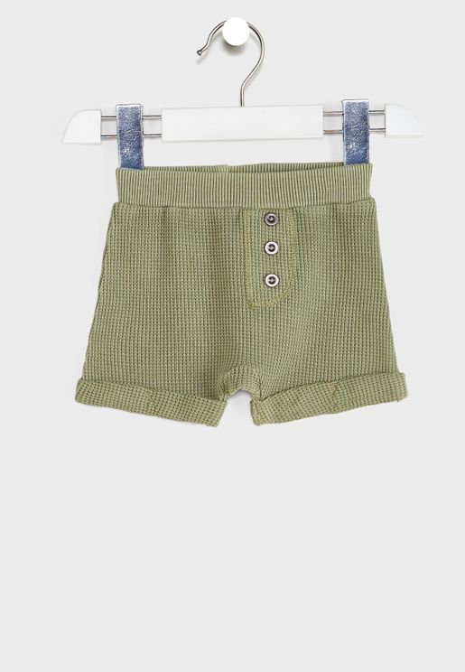 Infant Roll Hem Waffle Shorts