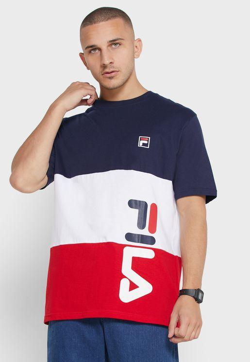 Alfredo Cut & Sew Stripe Graphic T-Shirt