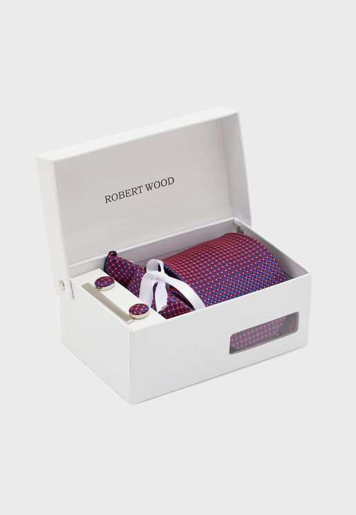 Tie, Cuff Link, Pocket Square and Tie Pin Gift Set