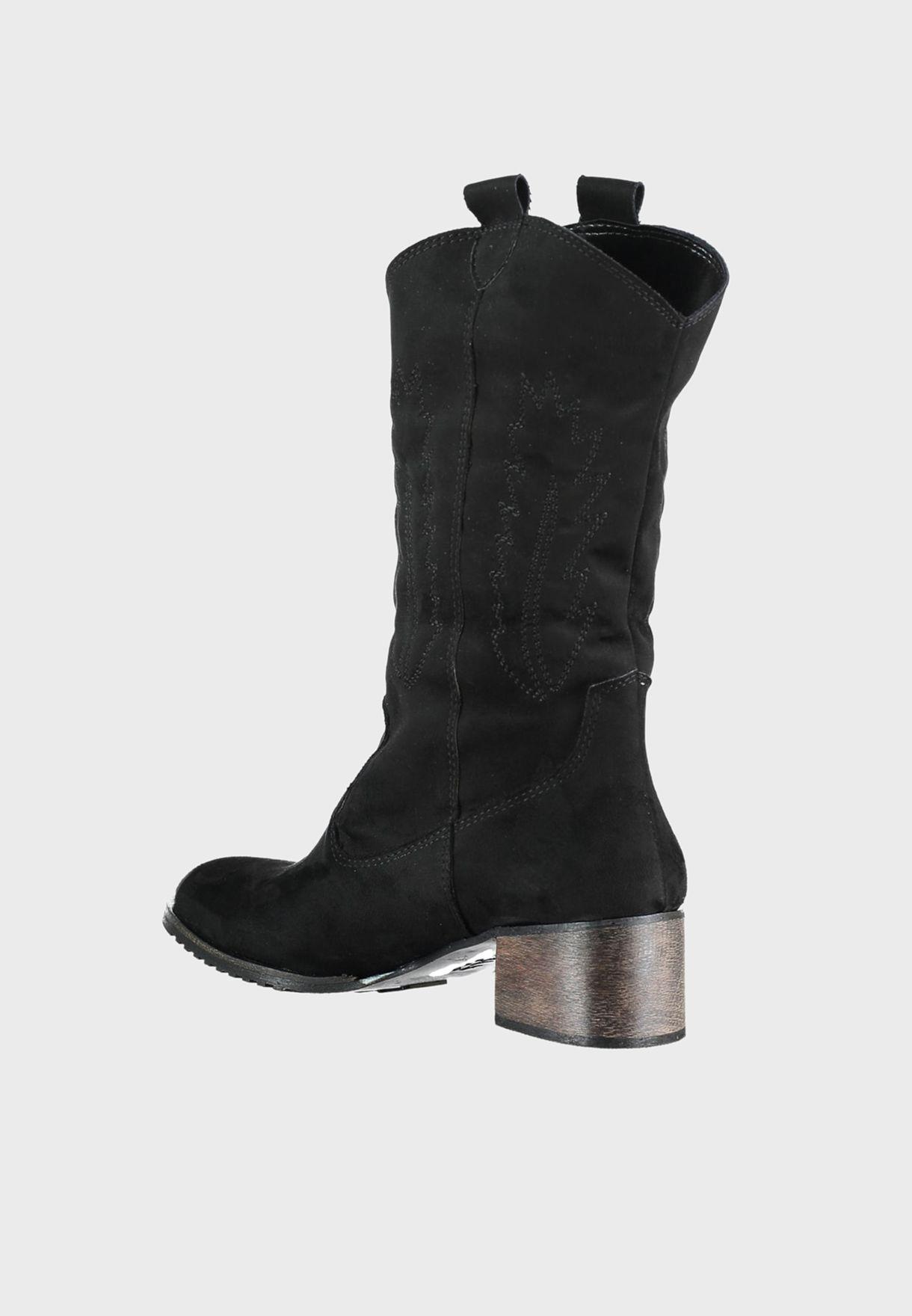 Suede Block Heel Boot