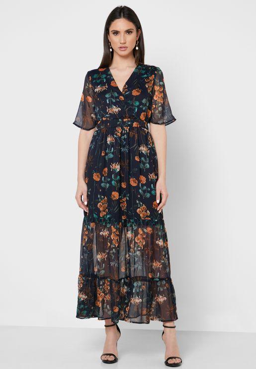 فستان شفاف بطبعات ازهار