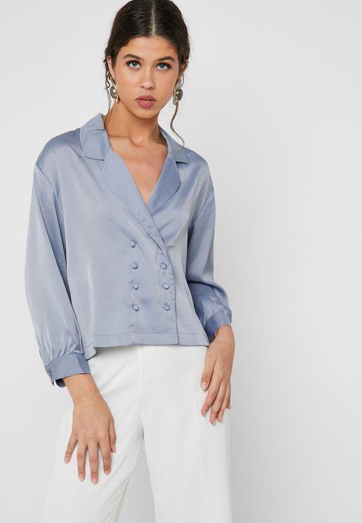 Button Detail Wrap Shirt