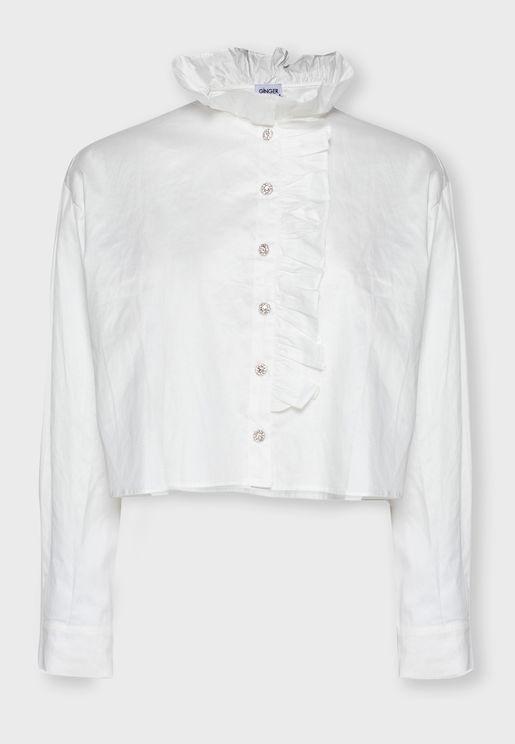 قميص بياقة عالية ومزين بكشكش