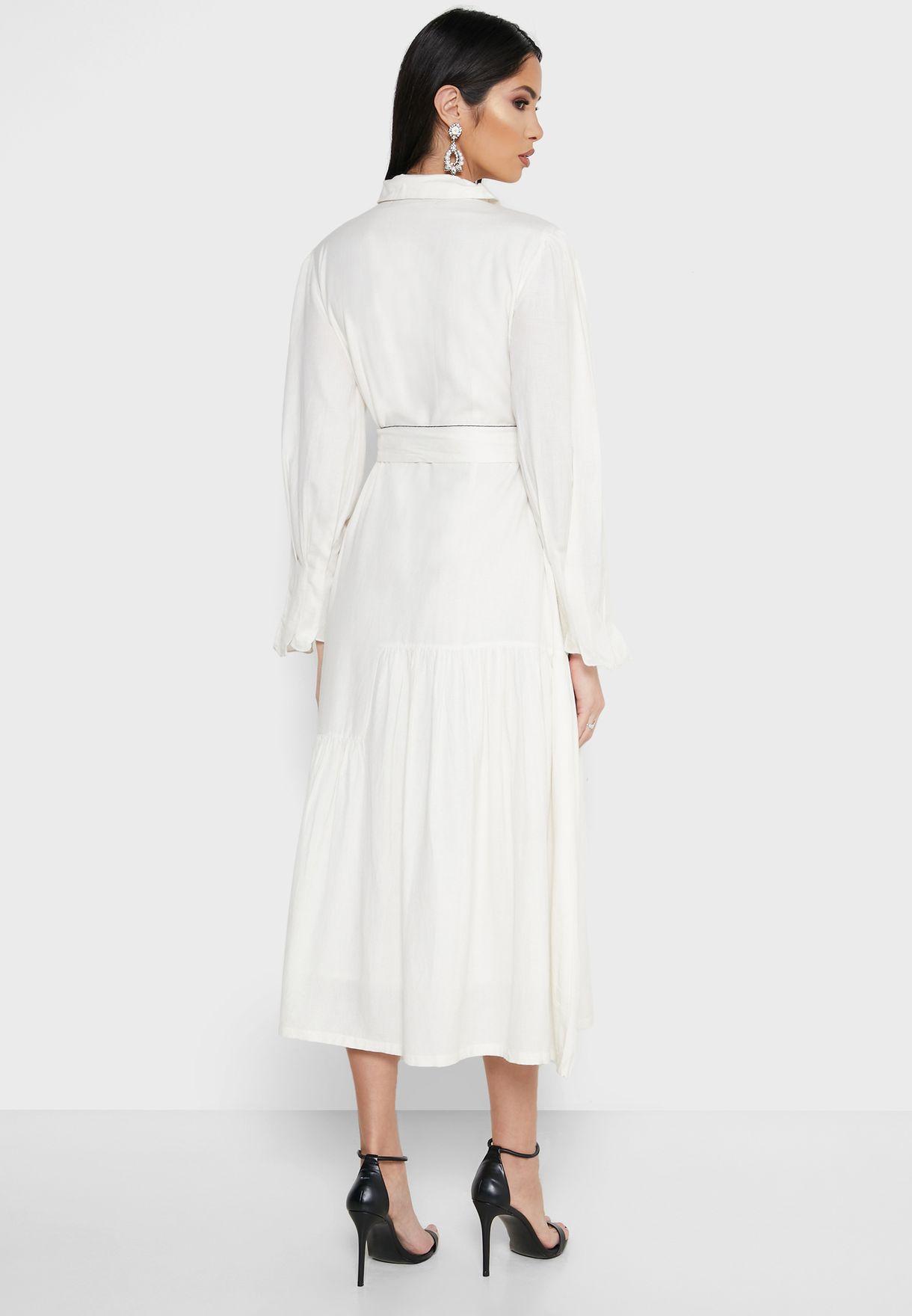 Embroidered Tie Waist Shirt Dress