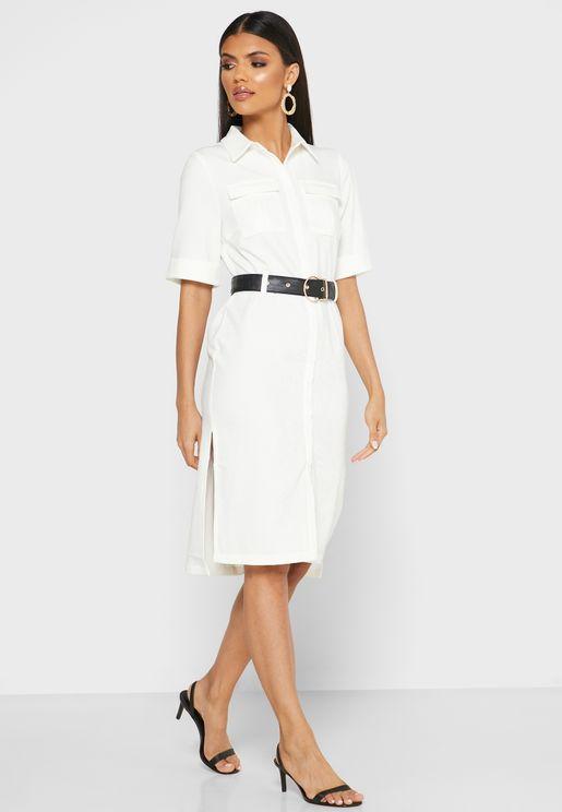 فستان بنمط قميص مع حزام