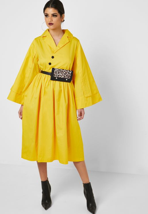 1a11be35825 Wide Sleeve Button Detail Dress