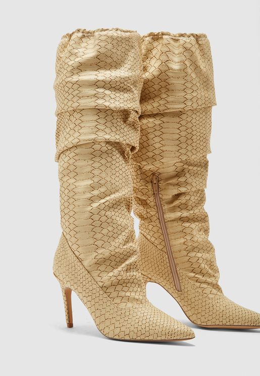 Rouched Elasticated Boot - Snake