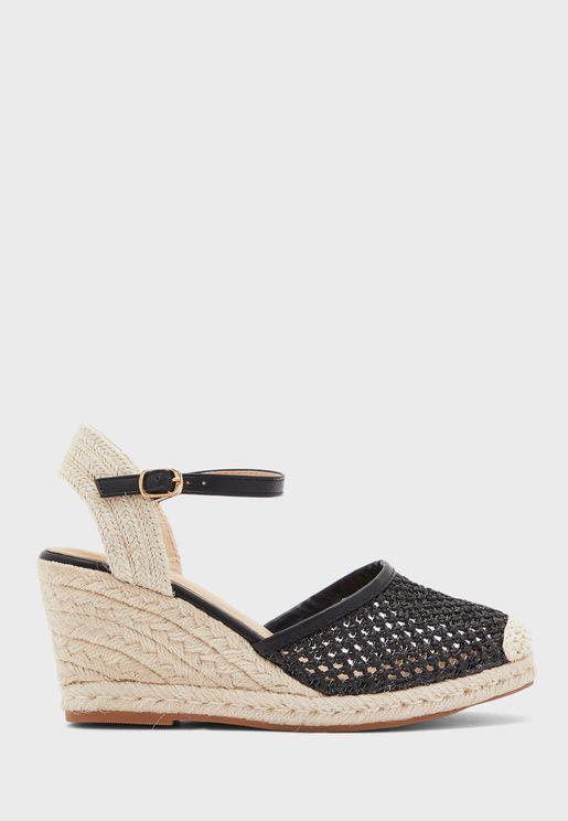 Weaved Raffia Wedge Sandal