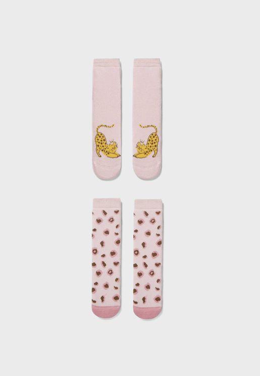Kids 2 Pack Leopard Queen Crew Socks