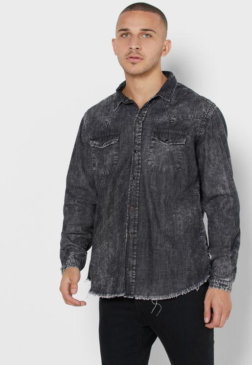 قميص جينز بشراشيب