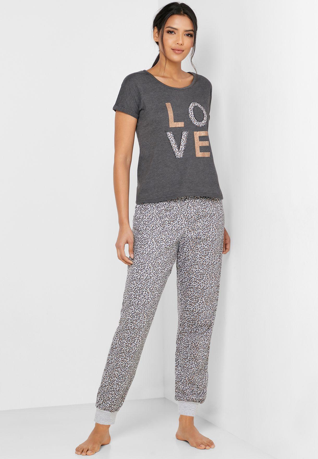 Slogan Tank Top & Pyjama Set