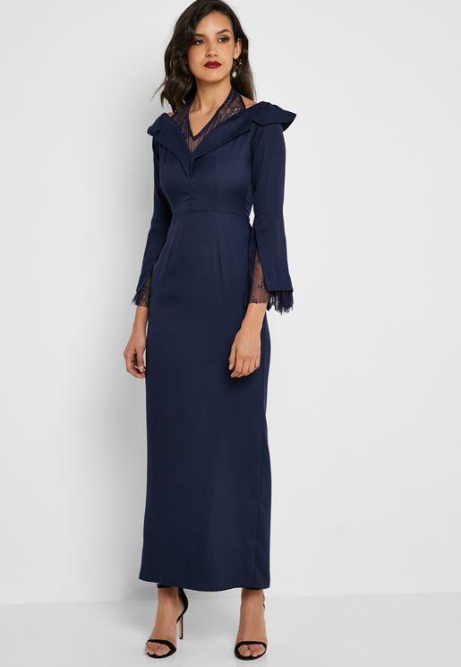 فستان ماكسي باجزاء دانتيل