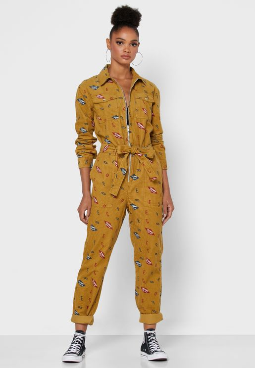 Tie Waist Zip Through Printed Jumpsuit