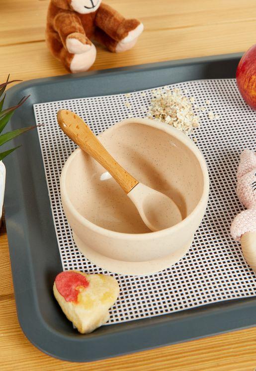 طقم وعاء وملعقة سيليكون