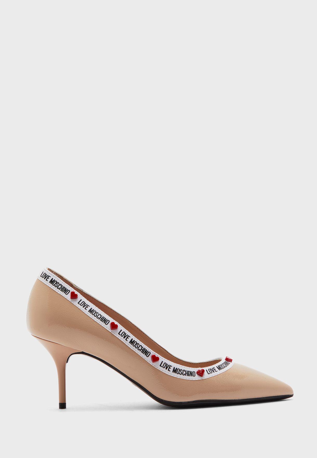 حذاء جلد اصلي بشعار الماركة