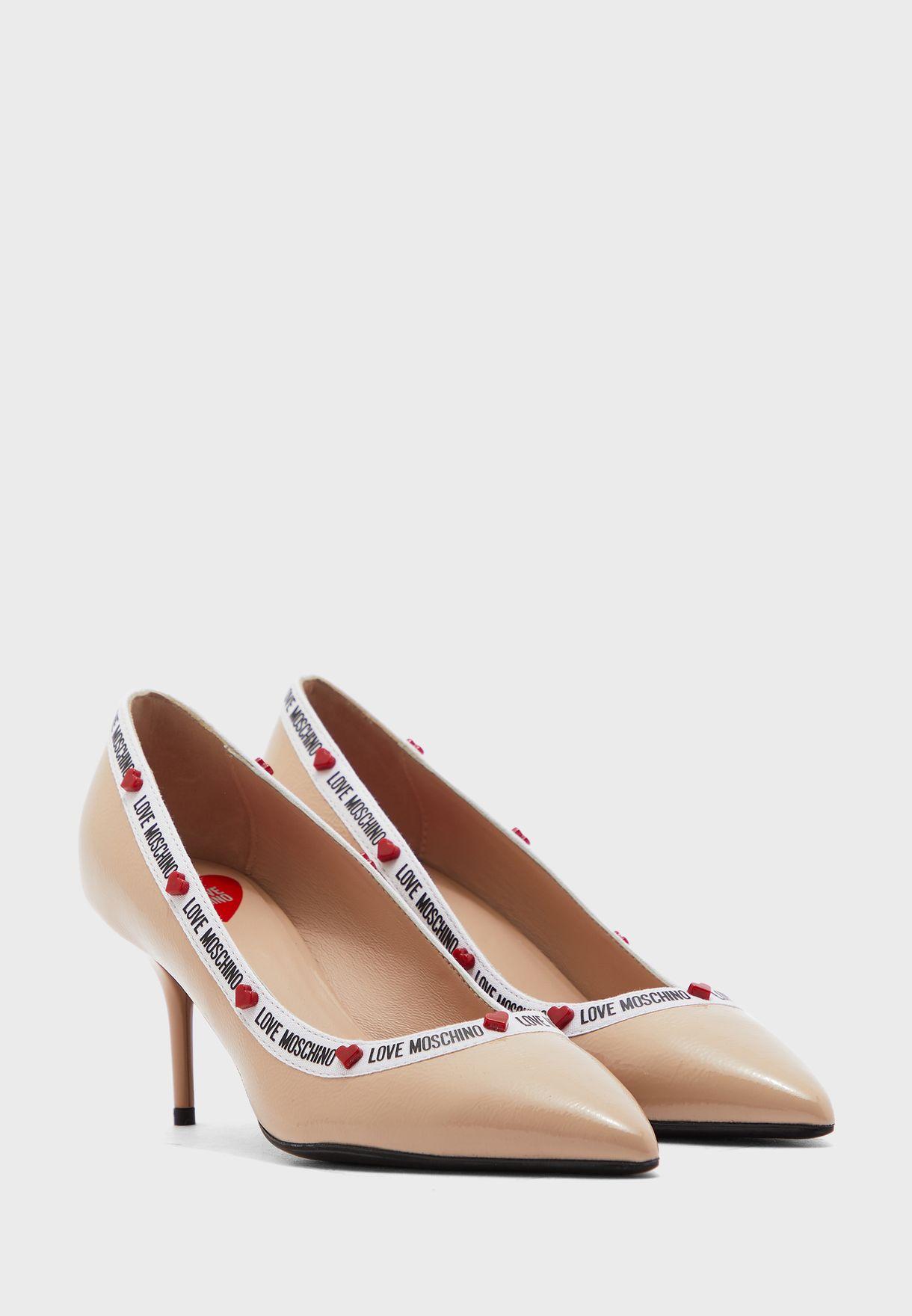 Shimmer Heel Pump - Cipria/Poudre