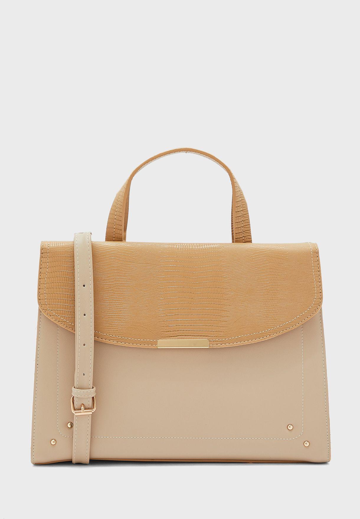 Lizard Texture Front Pocket Handbag