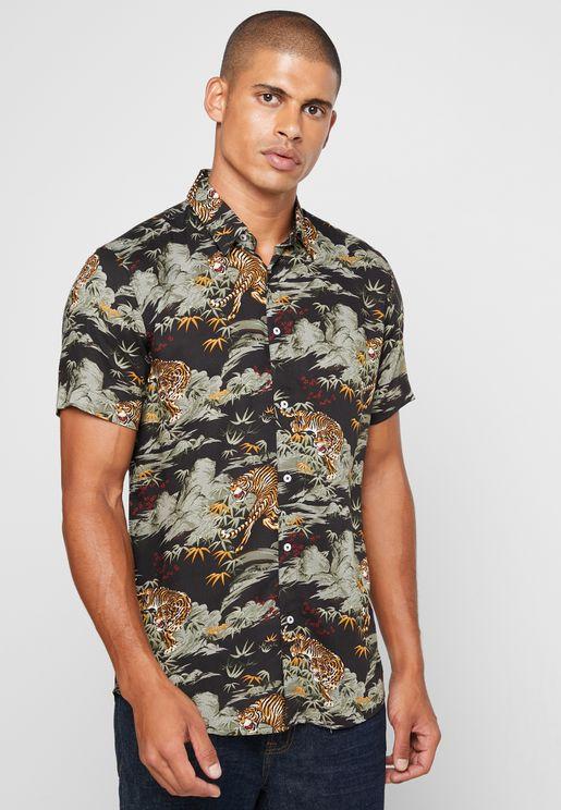 Tiger Print Slim Fit Shirt