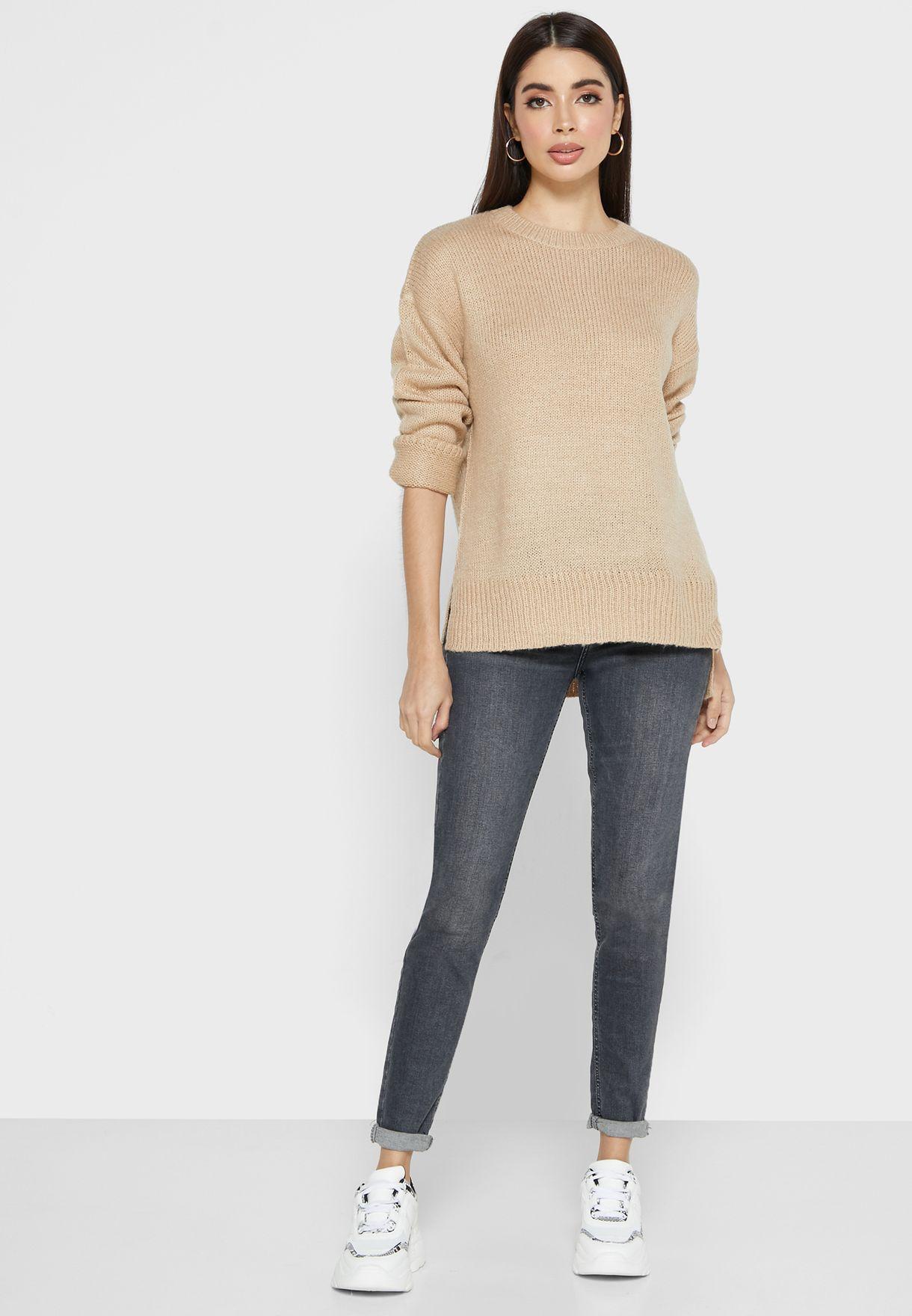 Ribbed Trim Sweater