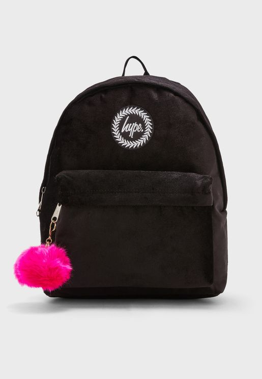 Velour Pom Backpack