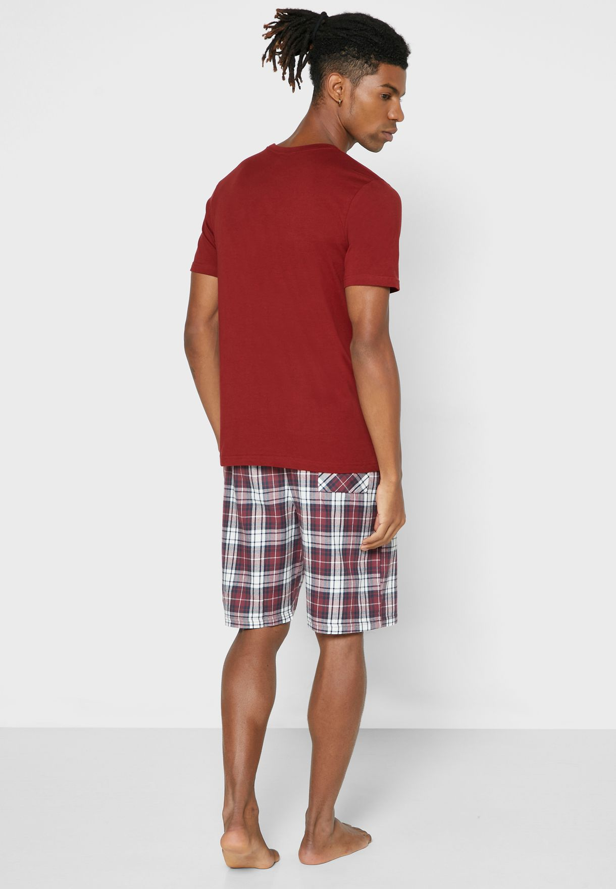 T-Shirt & Checked Shorts Pyjama Set