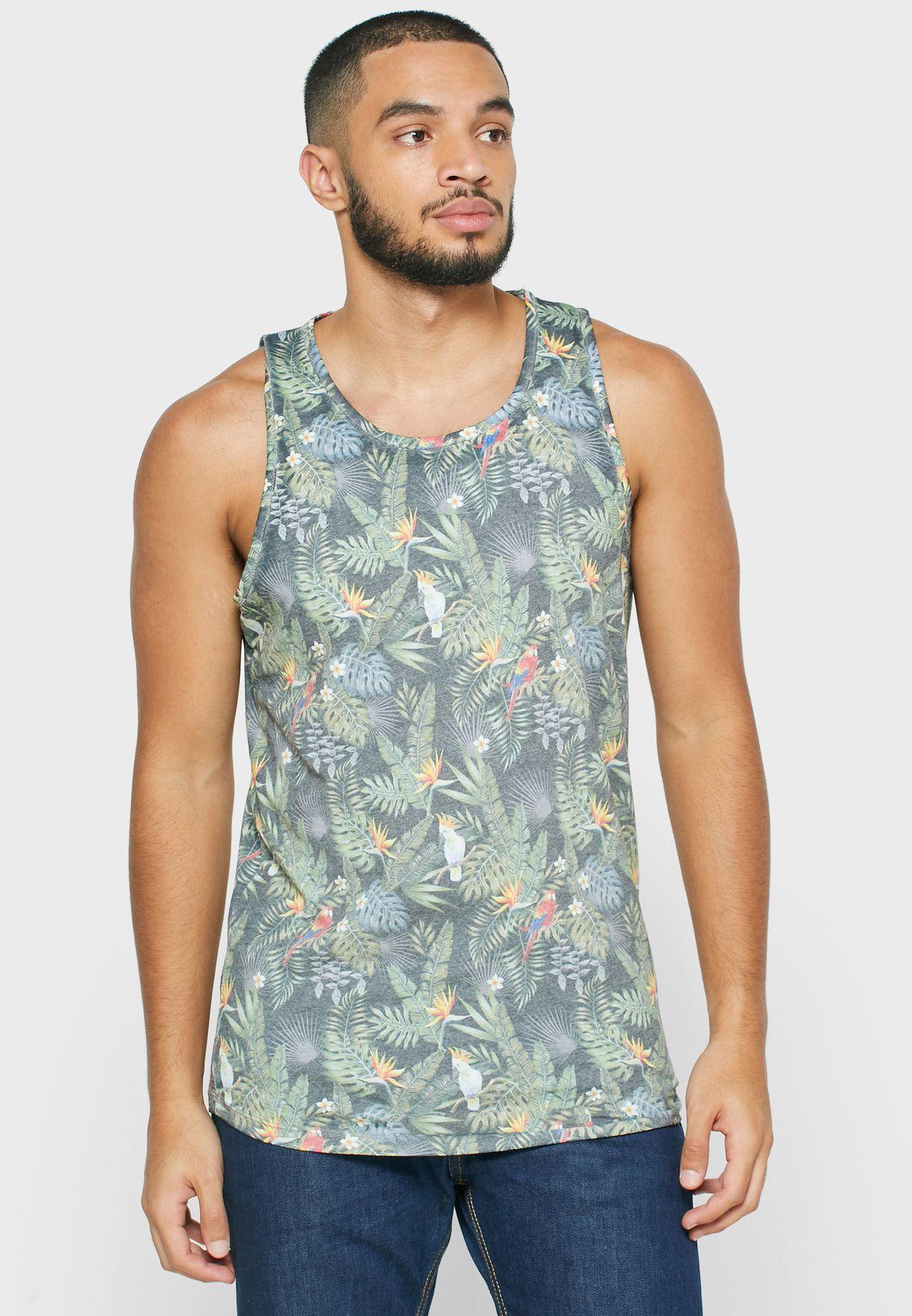 Tropical Birds Print Vest