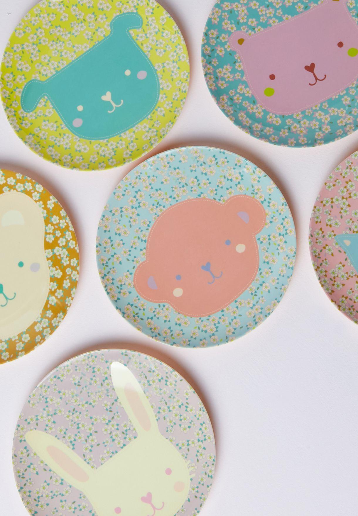 Set Of 6 Animal Printed Melamine Plates