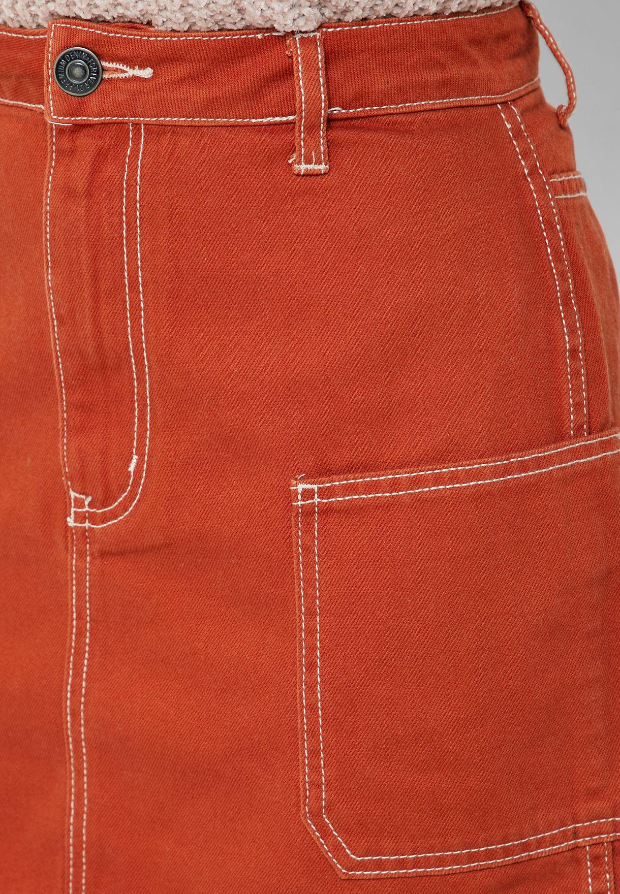 Contrast Stitch Mini Skirt