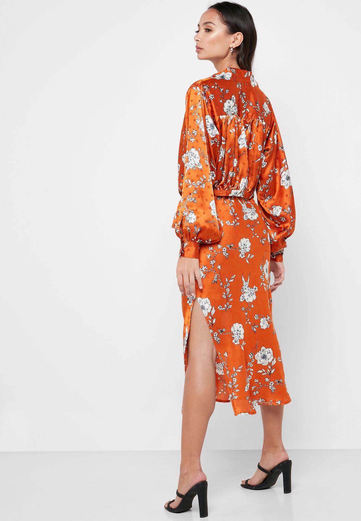 Floral Print Tie Front Shirt Midi Dress