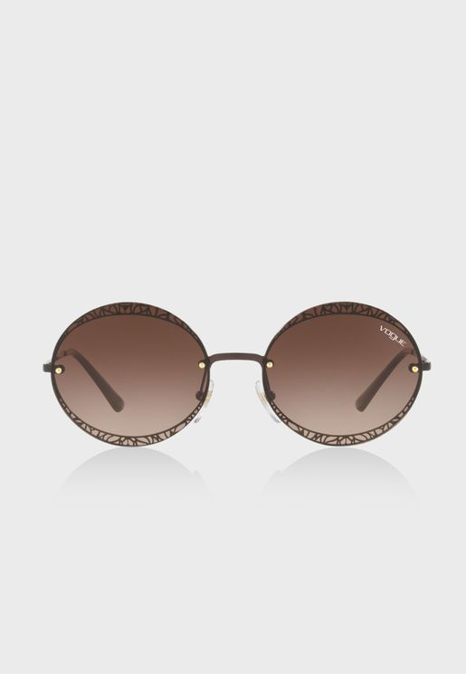 0VO4118S Metallic Lace Round Sunglasses