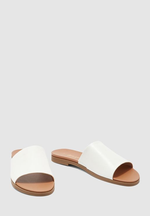 Single Strap Flat Sandal - white